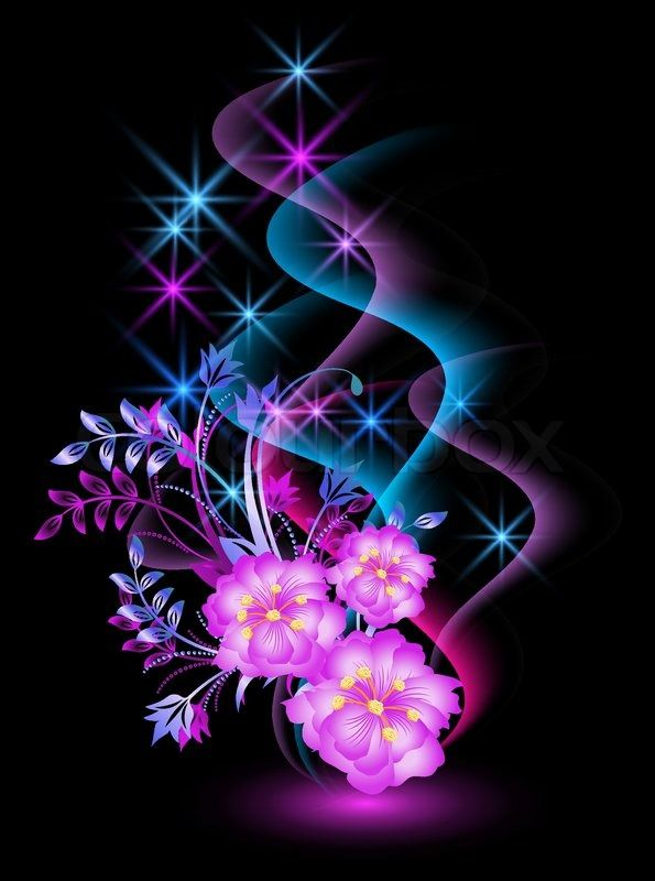 3972219 Glowing Background With Flowers And Stars Jpg 595 800 Pixels Glowing Background Neon Wallpaper Butterfly Wallpaper