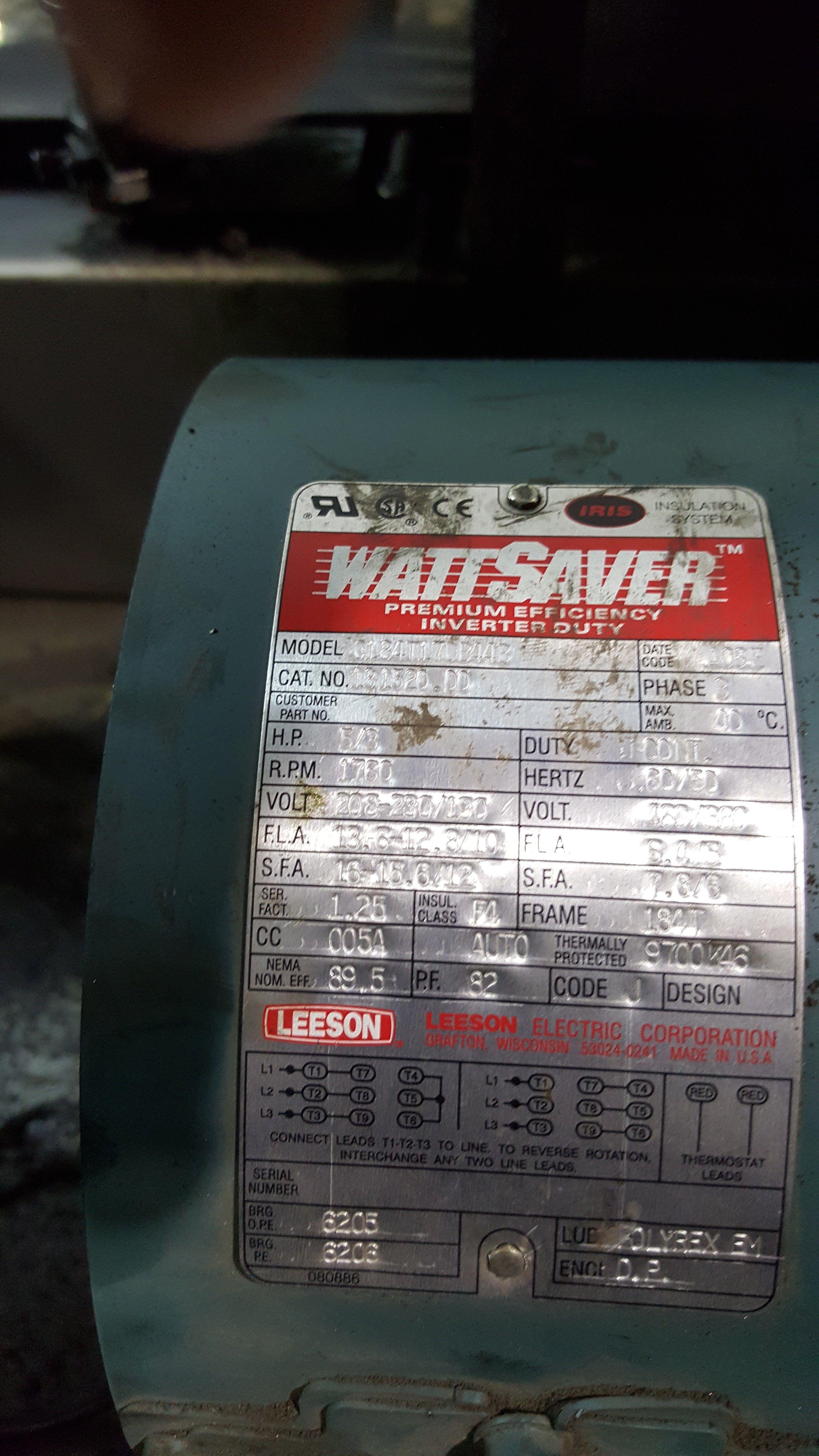 Leeson WattSaver 131520.00 / C184T17DB44B motor   Leeson Motors ...