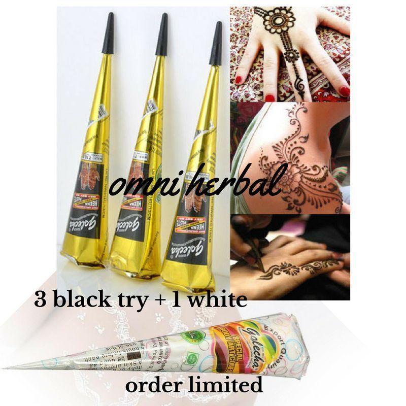 3 Golecha Black 1 White Henna Cones Temporary Tattoo Body Art Mehandi Kit Book Ebay Henna Cones White Henna Body Art