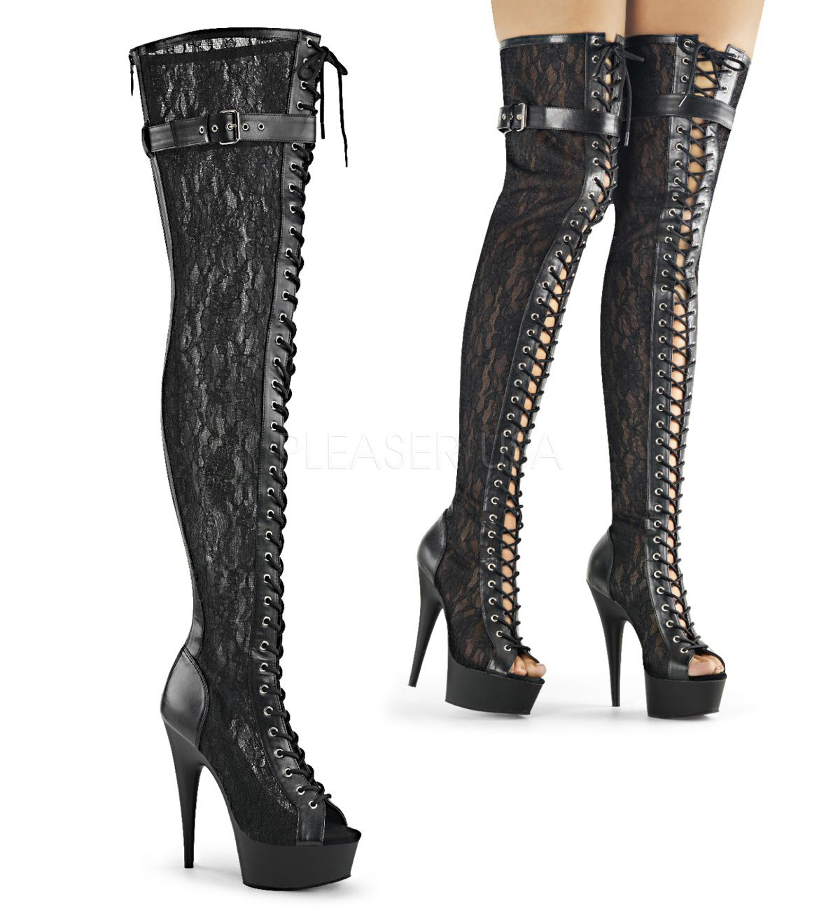 Peep Toe Front Lace up Mesh Thigh High Boot w Buckled Strap