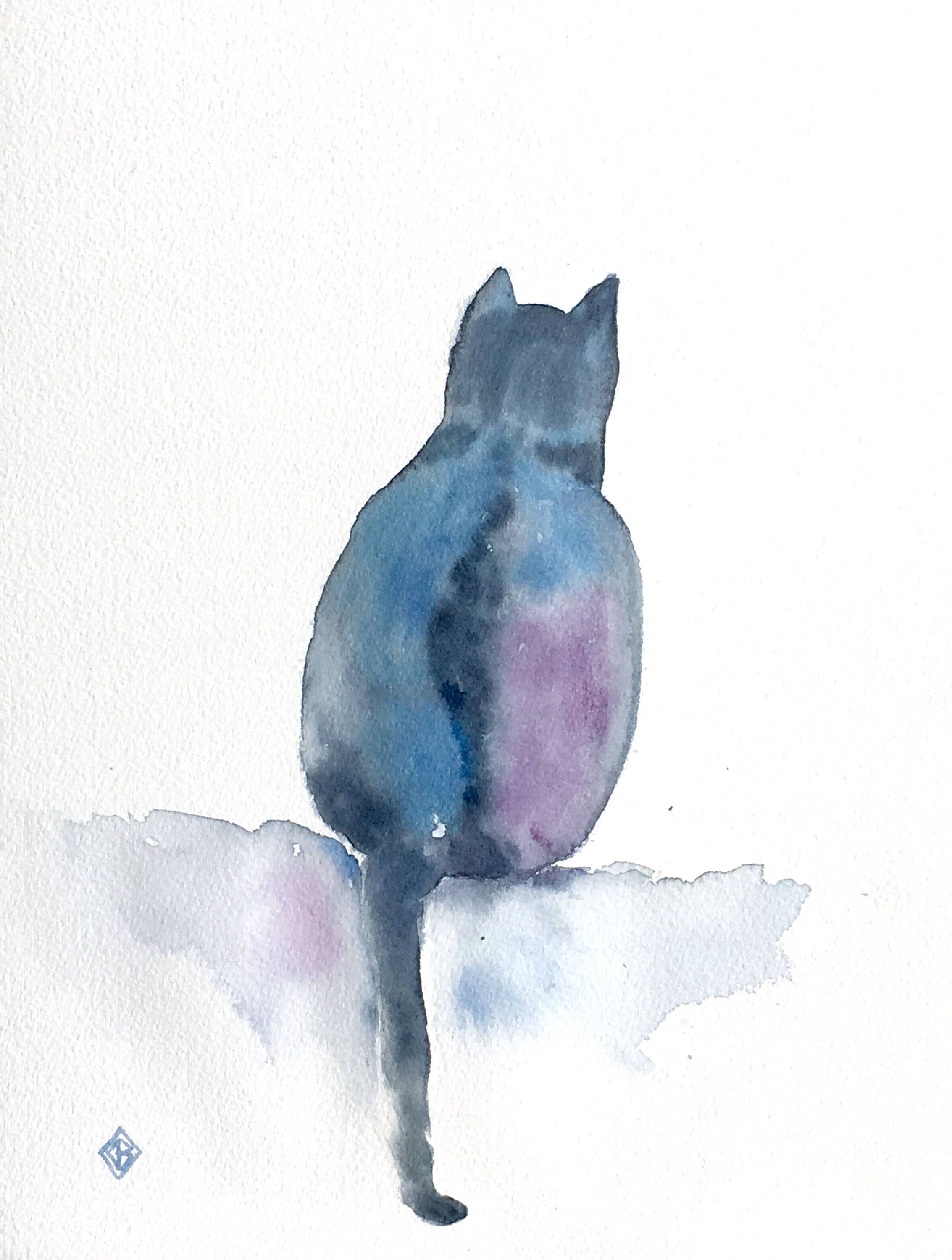 Cat Silhouette 8 1 2 X 11 Original Watercolor Painting Kitty