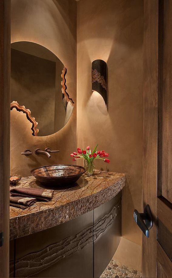 Southwestern Decorating Ideas Rustic Powder Room Modern