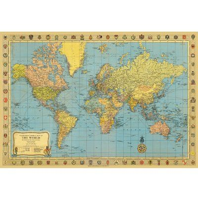 Amazon Com Map Of The World Poster Print Vintage Look 20x28 Home Kitchen Vintage World Map Poster
