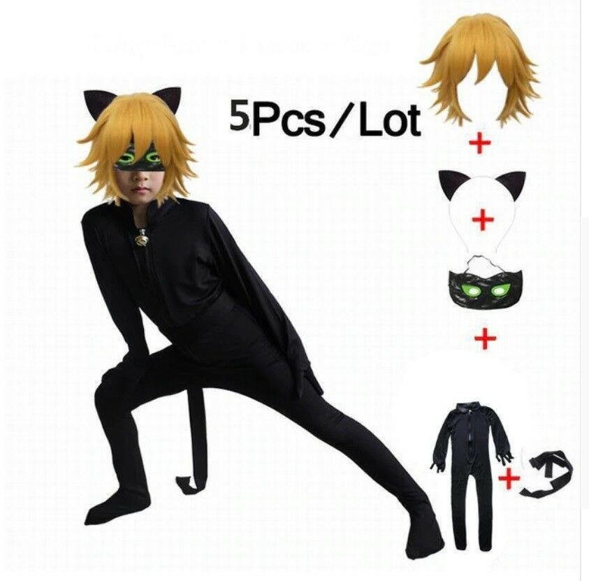 Best Price Lady bug Black Cat Noir Cosplay Costume Kids Jumpsuits Set Clothes