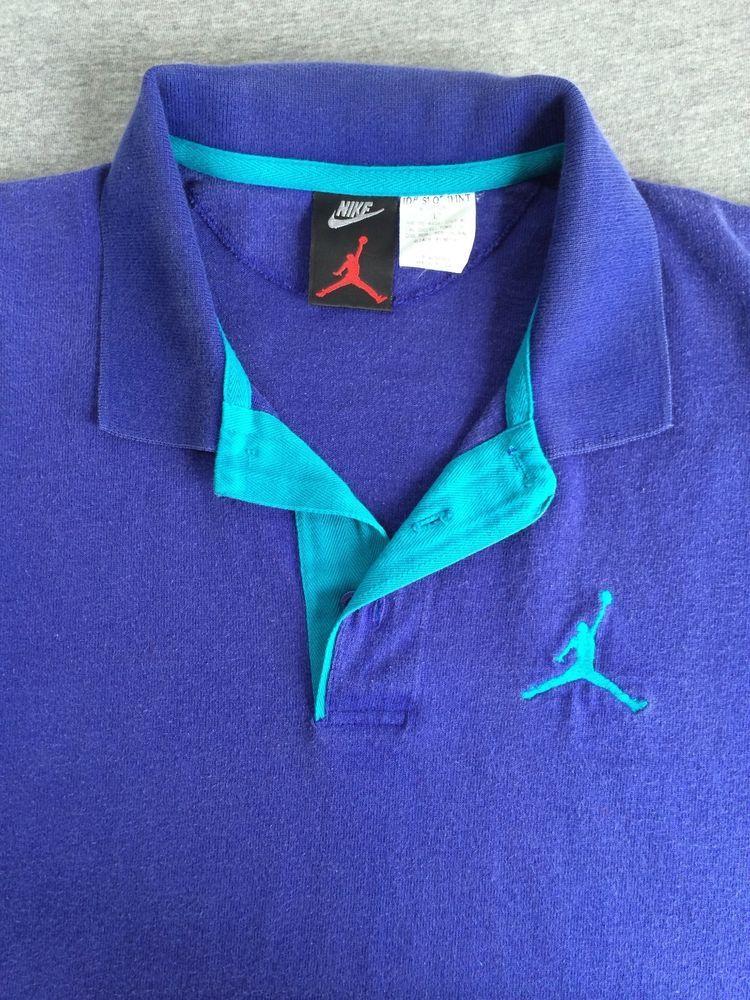 161f0eca RARE Vintage AIR JORDAN 80's 90's NIKE Polo Jumpman SEWN Shirt Grape Large  EUC