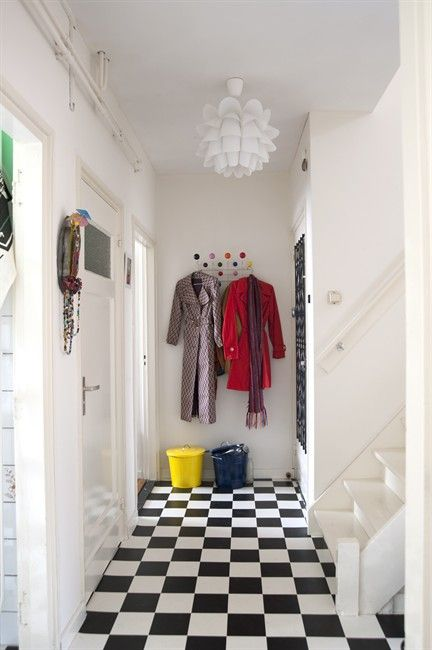 Trauma Room Design: Black And White Tiled Hallway