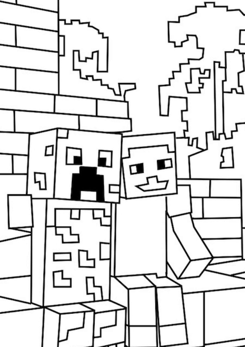 Friendship With Creeper High Quality Free Coloring From The Category Minecraft More Printable Pic Minecraft Coloring Pages Coloring For Kids Coloring Pages