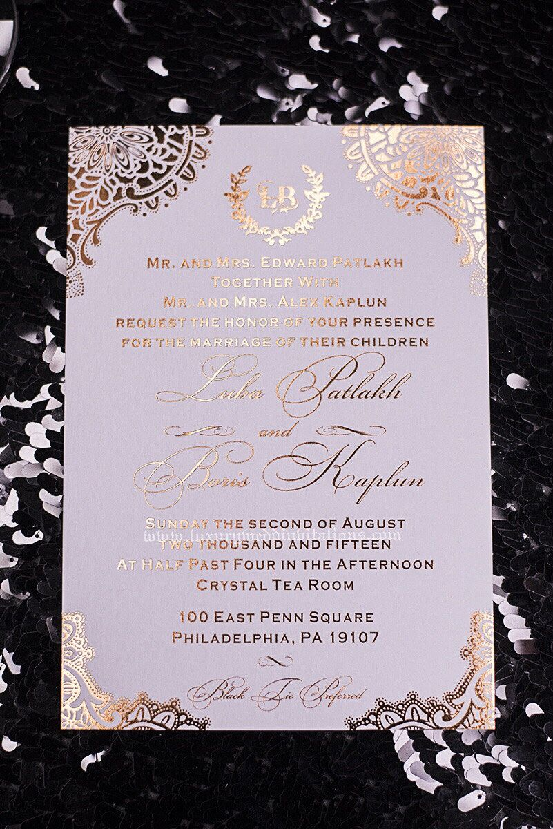 Gold Foil Wedding Invitations With Foil Envelopes, A Set Of 50 by luxuryweddinvitation