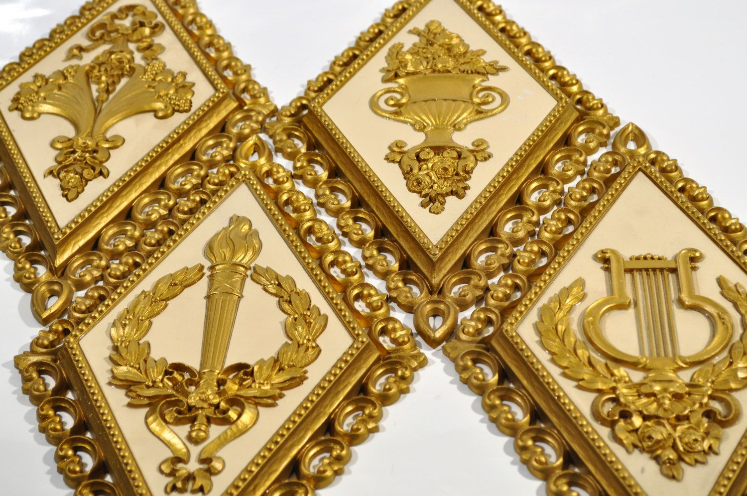 4 Diamond shape wall plaques Gold and ivory, color by Homco Home ...