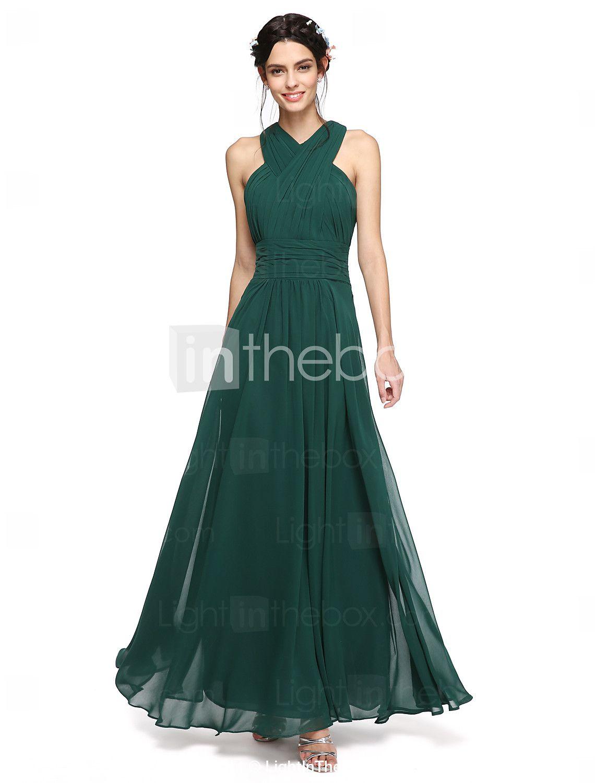 40cac0178fe8 Corte en A Halter Cuello en Y Hasta el Suelo Raso Vestido de Dama de ...
