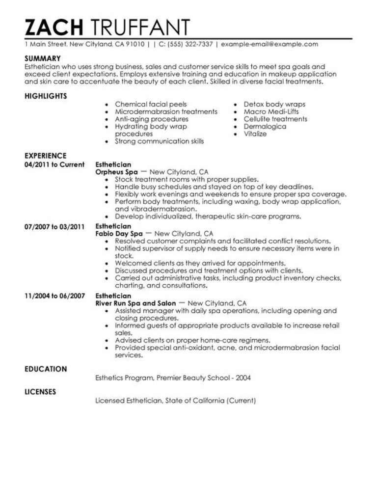 sample resume for licensed esthetician with no experience