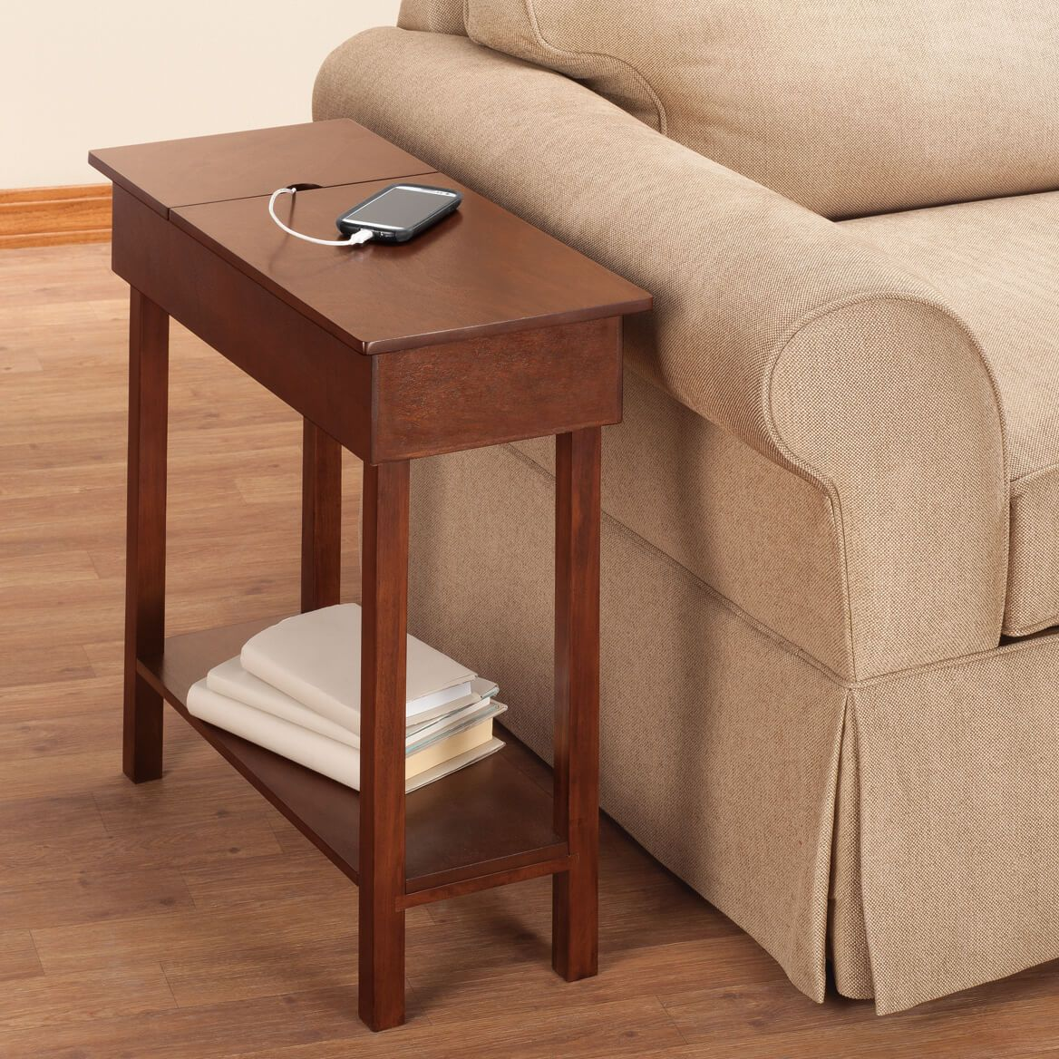 Miles Kimball Chairside Table with USB Power Strip by OakRidge Accents features a power strip with three 3-prong outlets and two USB ports built-in.