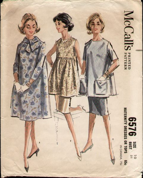 McCalls 6576 Vintage 1960s Mad Men Maternity Dress Pattern B31