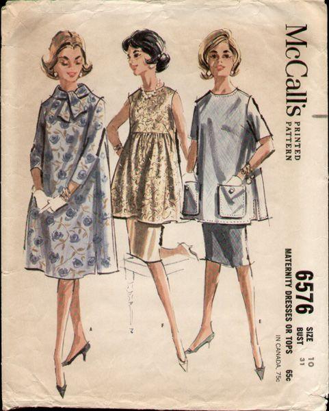 80784cce91d67 McCalls 6576 Vintage 1960s Mad Men Maternity Dress Pattern B31 | Mad ...