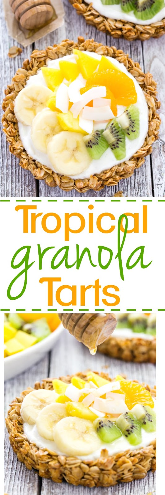 Start your day off right with these granola tarts with creamy vanilla yogurt, topped with tropical fruits and drizzled with golden honey.  Something your taste buds will want to wake up to pronto!