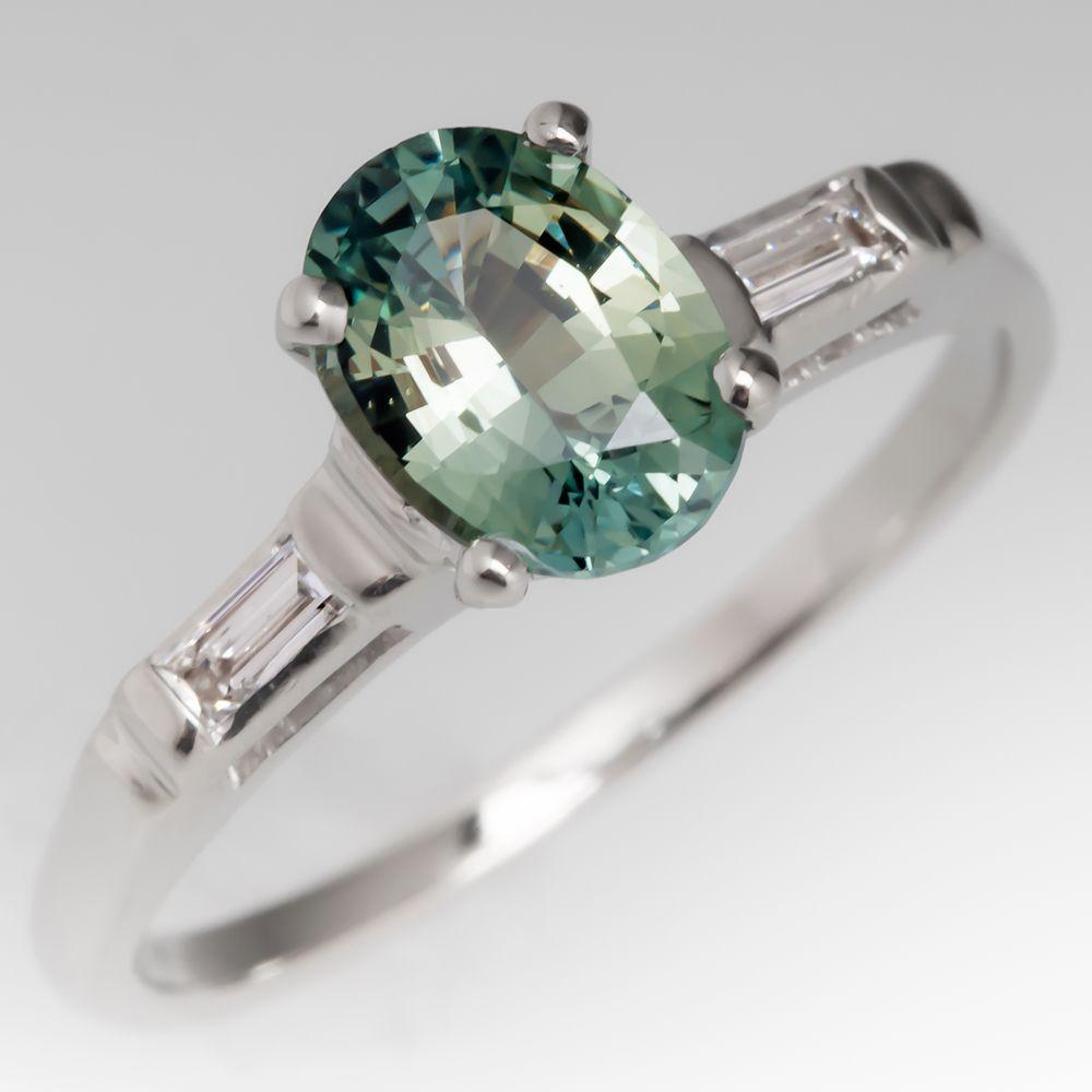 1 2 Carat Light Blue Green Sapphire Engagement Ring Sapphire Engagement Ring Blue Green Saphire Engagement Ring Blue Engagement Ring