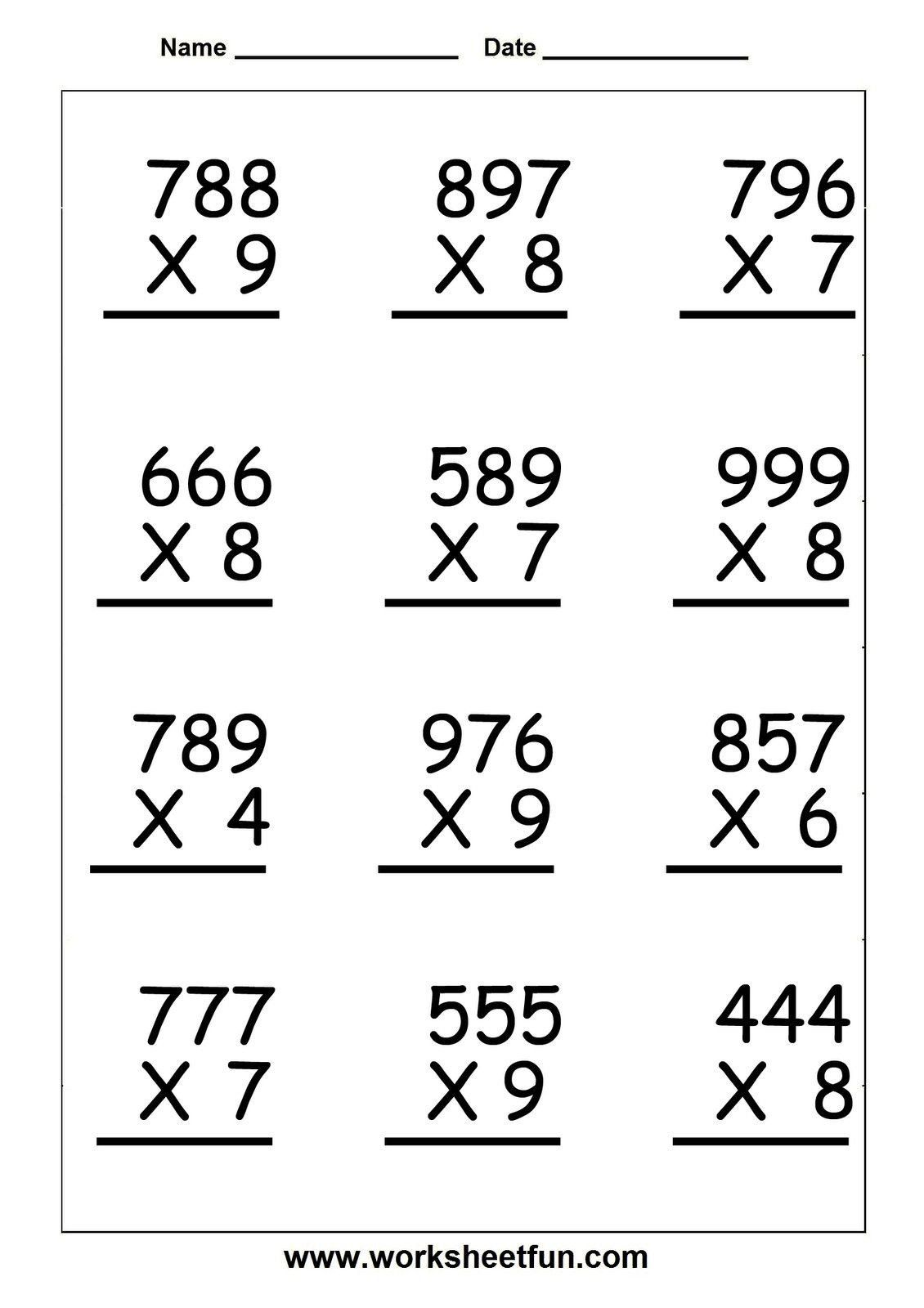 5th Grade Math Worksheet Multiplication Worksheets Grade 5