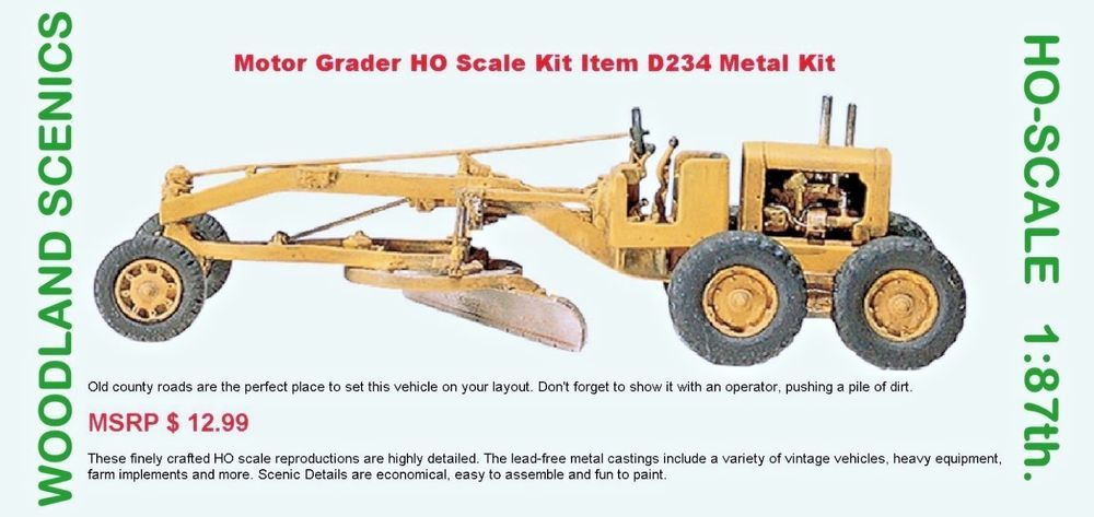 Motor Grader HO Scale Kit Item D234 Metal Kit