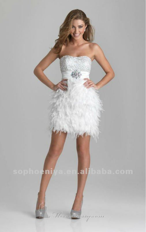 939a919d175 Dress - Buy White Feather Cocktail Dress