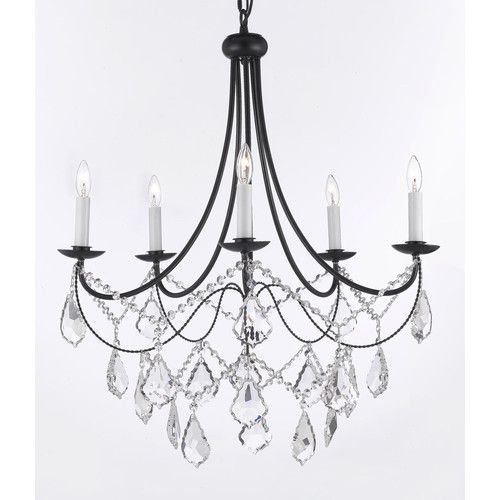 found it at wayfair wrought iron u0026 crystal 5 light plug in chandelier