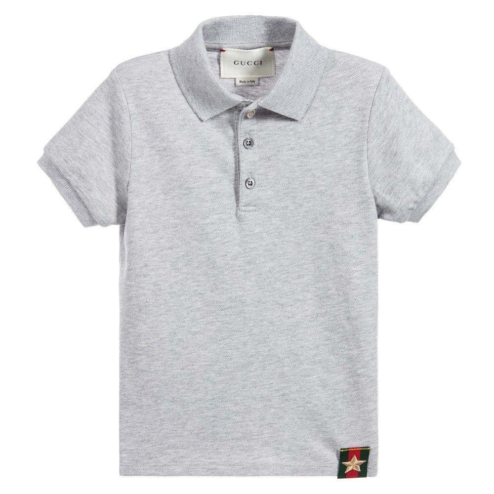 ec60437619ee Boys Grey Cotton Piqué Polo Shirt