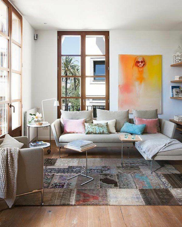 Wohnzimmer Teppich Mit Verschiedenen Mustern