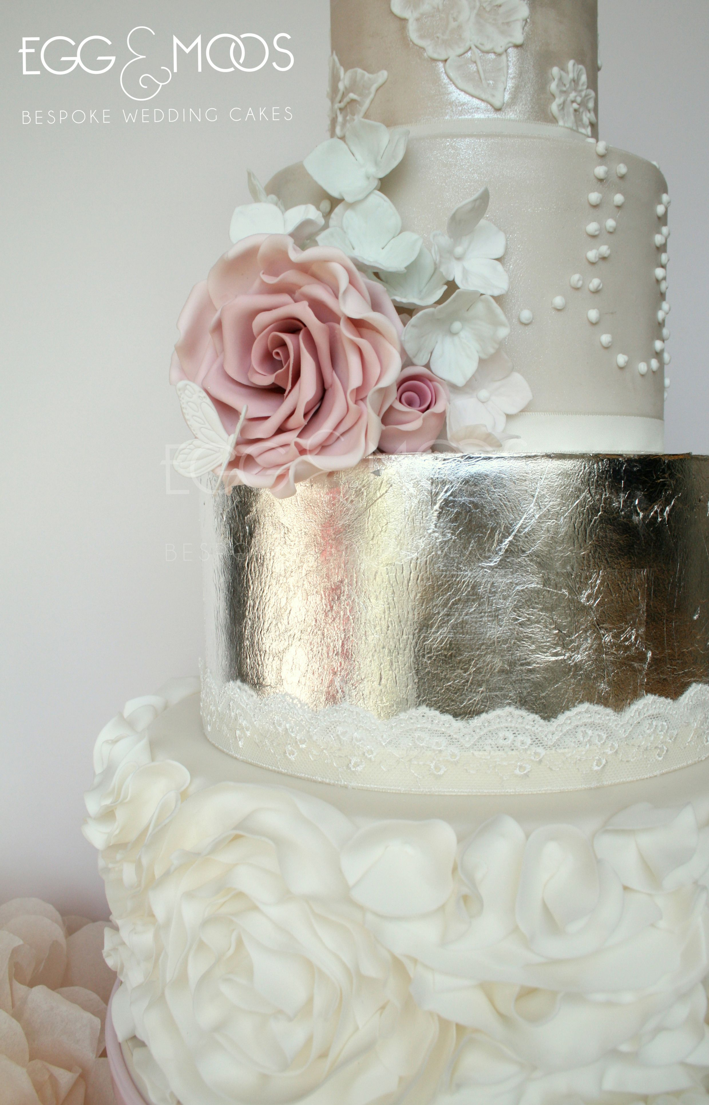 Silver leaf romance bespoke wedding cake by egg and moos starting