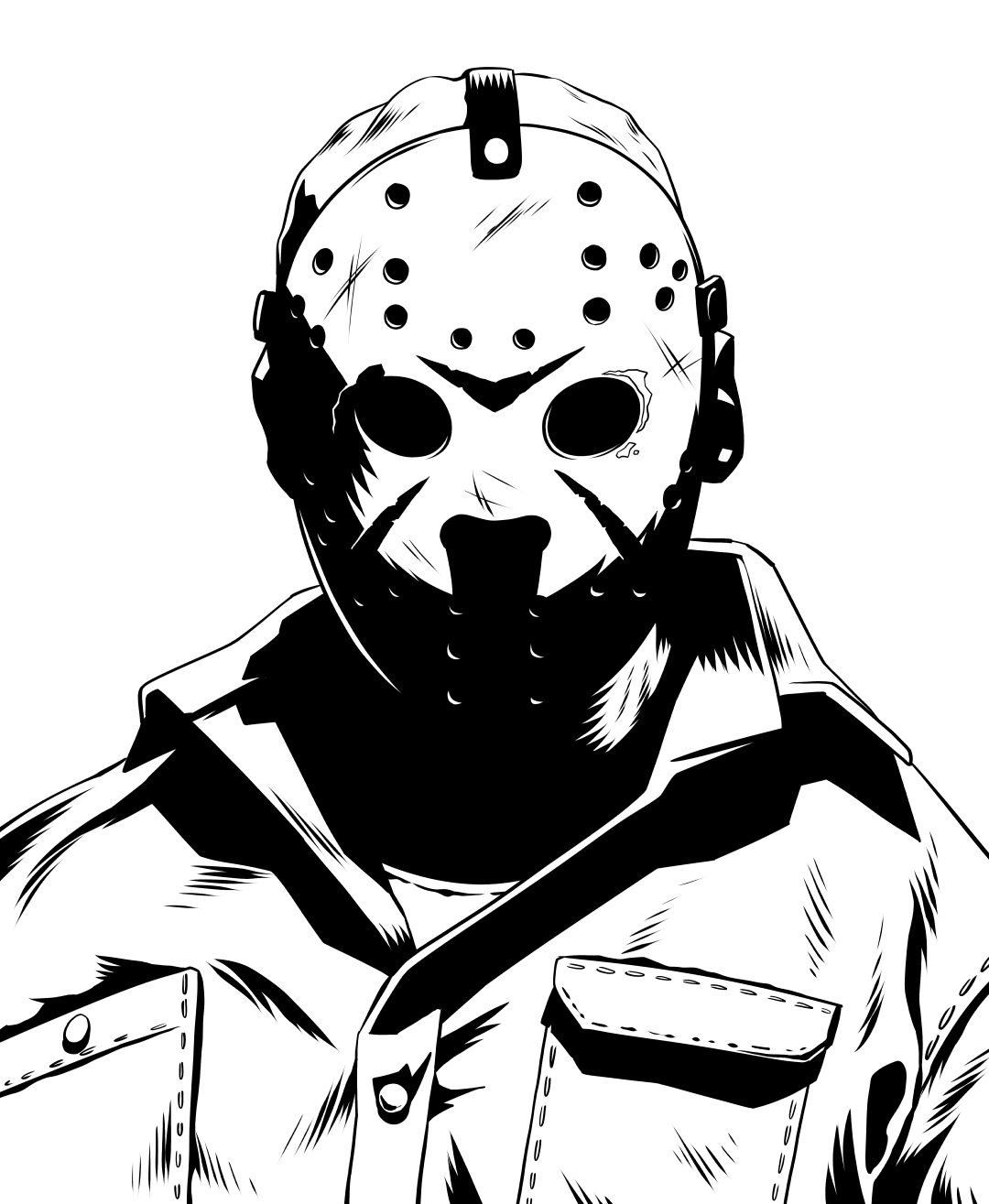 Inktober Friday the 13th: Jason Voorhees! #movies #film #