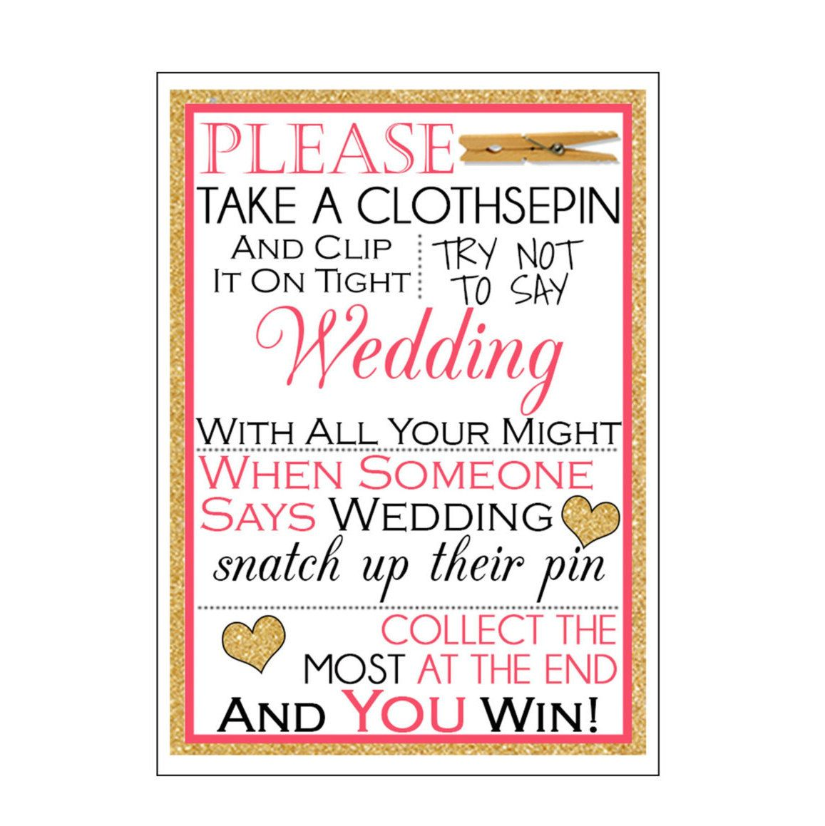 kate spade inspired bridal shower clothespin game sign by classicdesignsbyklm on etsy