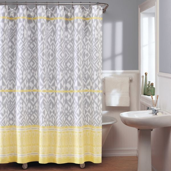 Yellow And Gray Shower Curtain Gray Shower Curtains Shower