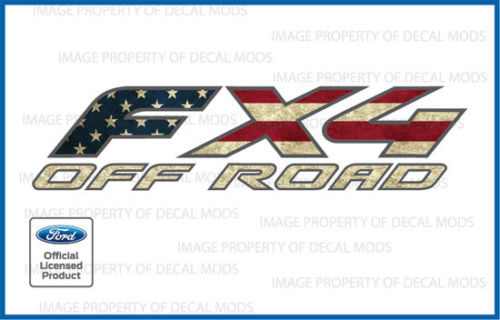 2 1997 2008 Ford F150 Fx4 Off Road Decals Stickers American Flag Worn Fwflag Ebay American Flag Sticker Ford F150 Fx4 American Flag Wear