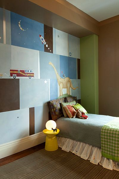 A shared bedroom for two growing boys sports a custom Sam Simon mural. Photo: Mae Lee Hacking, co-founder of Here In This House.