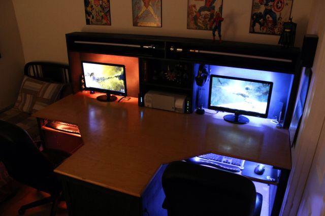 Backlit His And Hers Desk All That Space Video Game Rooms Computer Desk Setup Gaming Setup