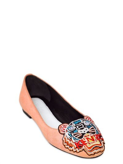 KENZO - 10MM SUEDE TIGER FLATS