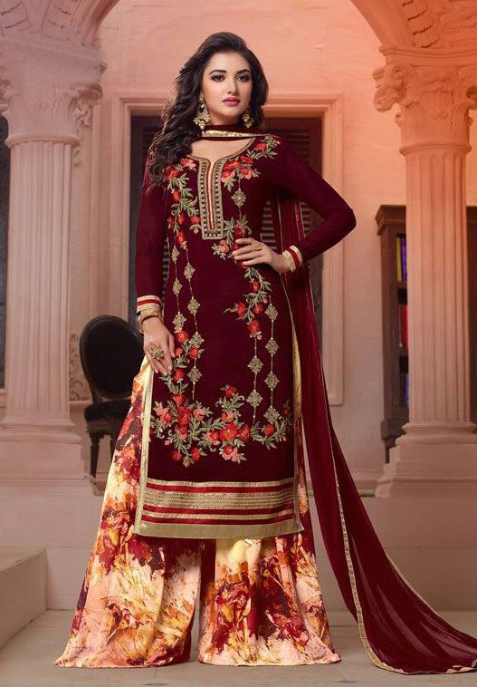 Maroon Georgette Sharara Style Shalwar Kameez Nikvik Usa Designer Australia Canada Freeshippi Dress Materials Indian Party Wear Indian Fashion Saree