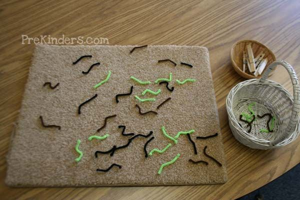 """Birds eating worms. Fun game to strengthen fine motor skills. Use clothespin """"birds"""" to pick up small pieces of pipe cleaner """"worms"""". Creative! {PreKinders}"""