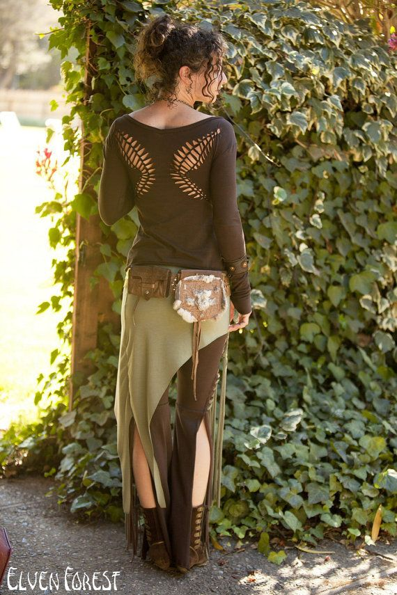 Elven Over-Skirt Shirt - Tribal Yoga asymmetrical skirt with braids