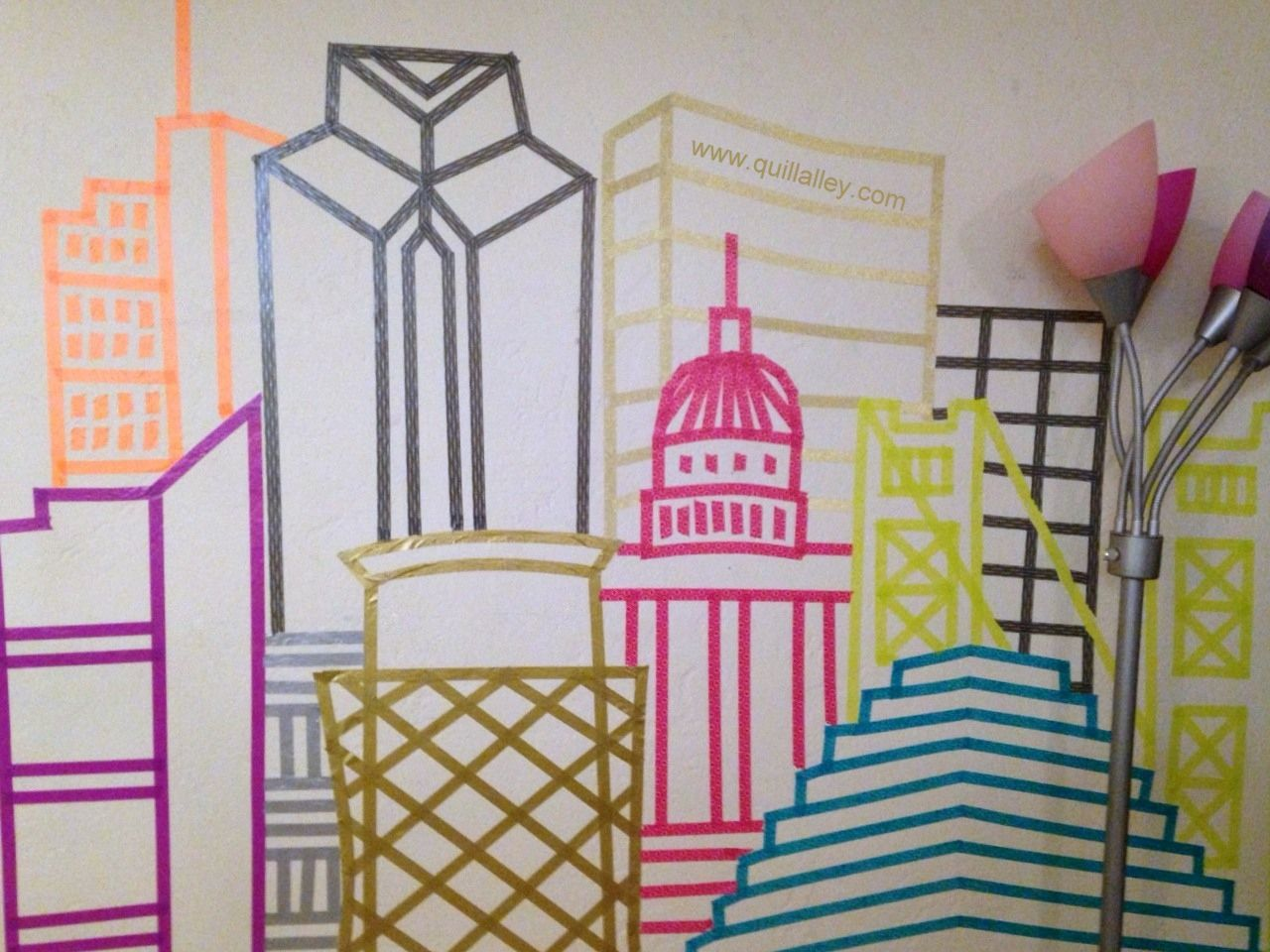 Washi skyline wall art via quill alley easy diy home for Washi tape wall art