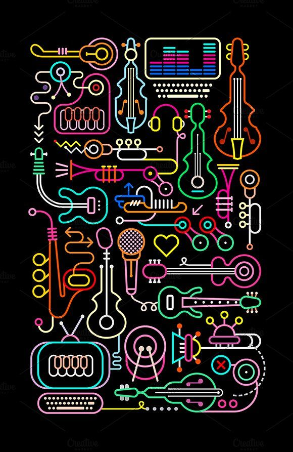 Music Shop Vector Illustration by danjazzia on @creativemarket