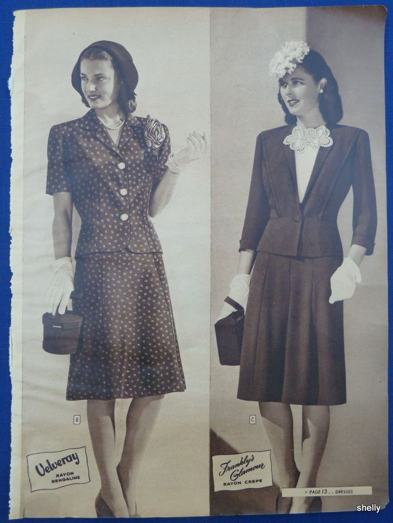 d555d1d20c73 Dresses Suits Spring Summer Womens Clothing Vintage 1940s Sears ADS | eBay