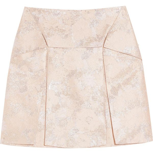 Christopher Kane Pleated metallic silk-blend brocade mini skirt (£396) ❤ liked on Polyvore featuring skirts, mini skirts, bottoms, saias, christopher kane, blush, pink pleated mini skirt, short mini skirts, mini skirt and pink pleated skirt