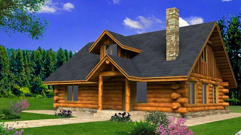 Log Style House Plan 2 Beds 2 Baths 1843 Sq Ft Plan 117 824 Rustic Log House Plans Log Home Plans Log Cabin House Plans