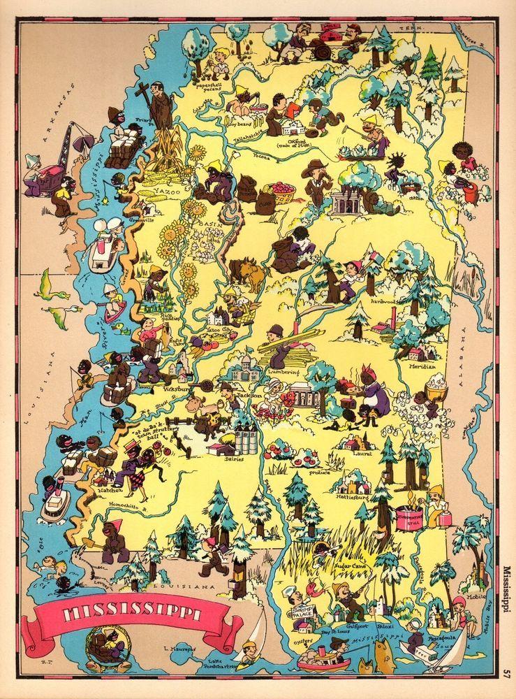 Mississippi Antique Vintage Pictorial Map