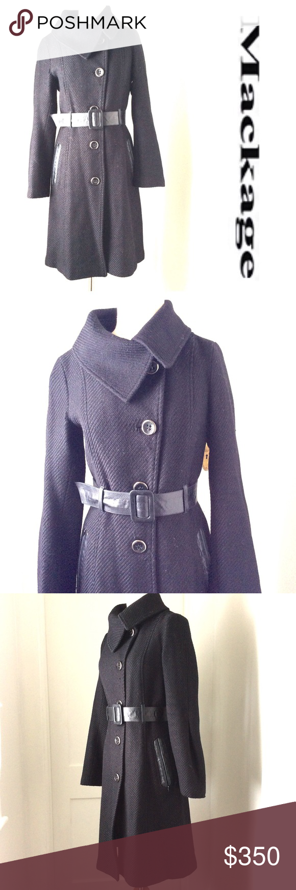 MACKAGE black leather trim COAT Small S Beautiful preowned coat by MACKAGE in Black.. light wear, some minor pilling, small fraying under arm, GreatCoat that retailed for close to $1000!  mackage Jackets & Coats Trench Coats