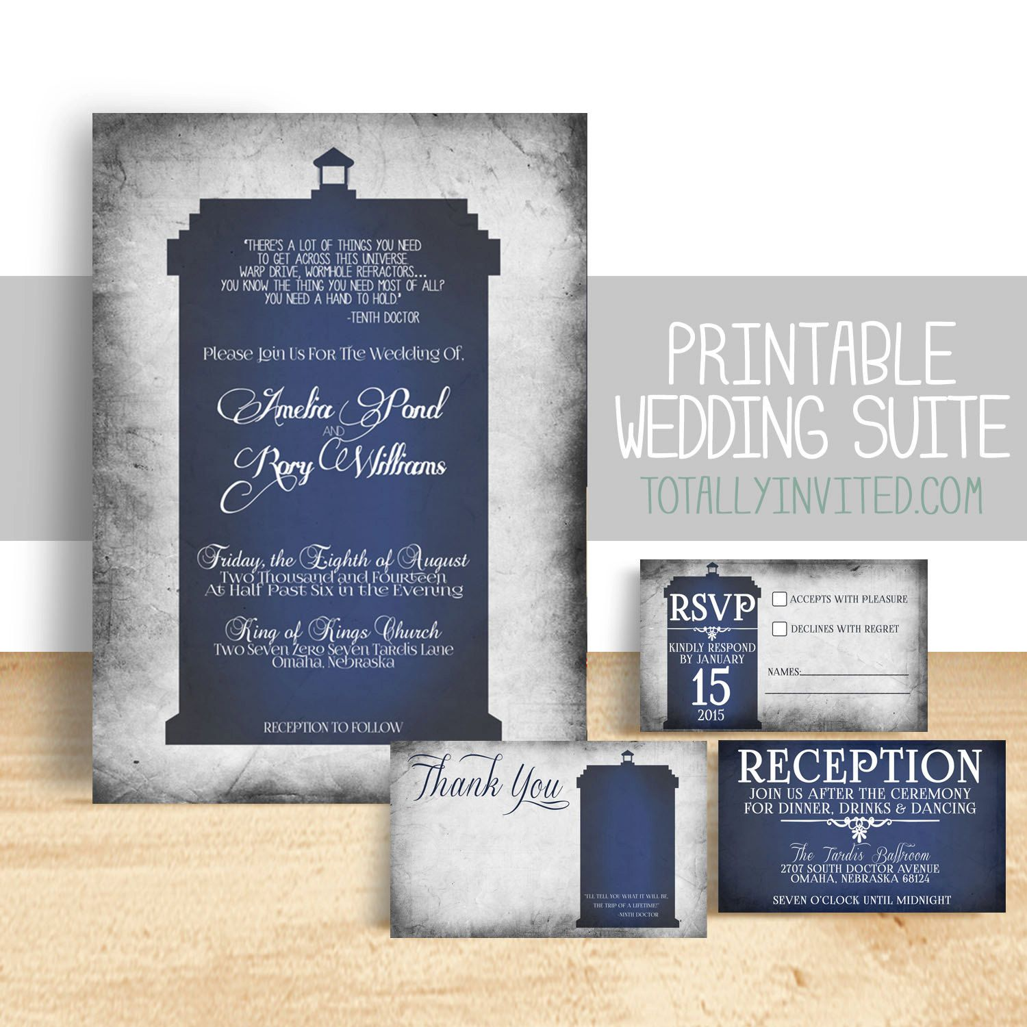 wedding reception invites%0A dr who wedding invitations   Doctor Who TARDIS Wedding Invitation Set by  TotallyInvited