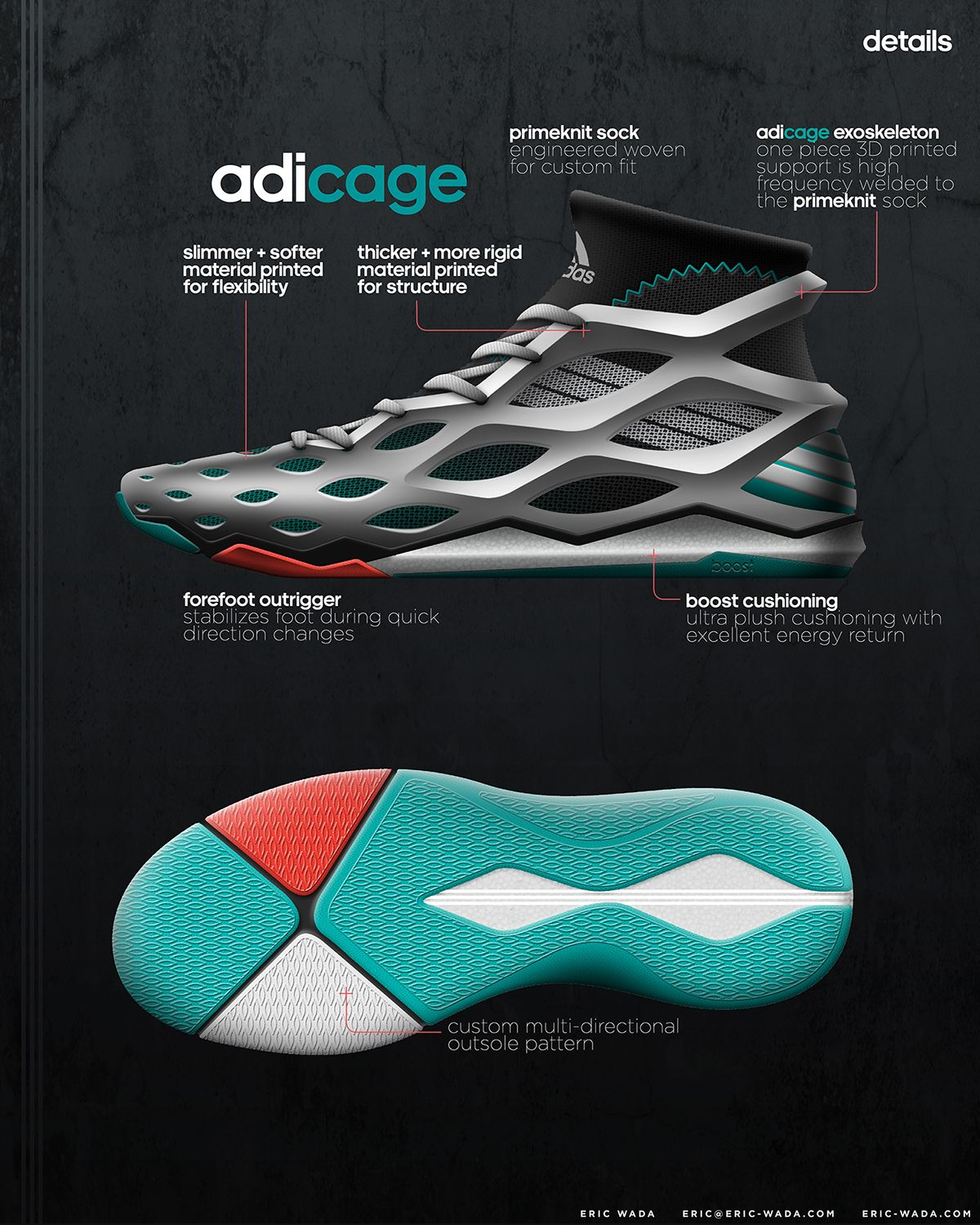 adidas basketball shoe concept with 3D printed exoskeleton