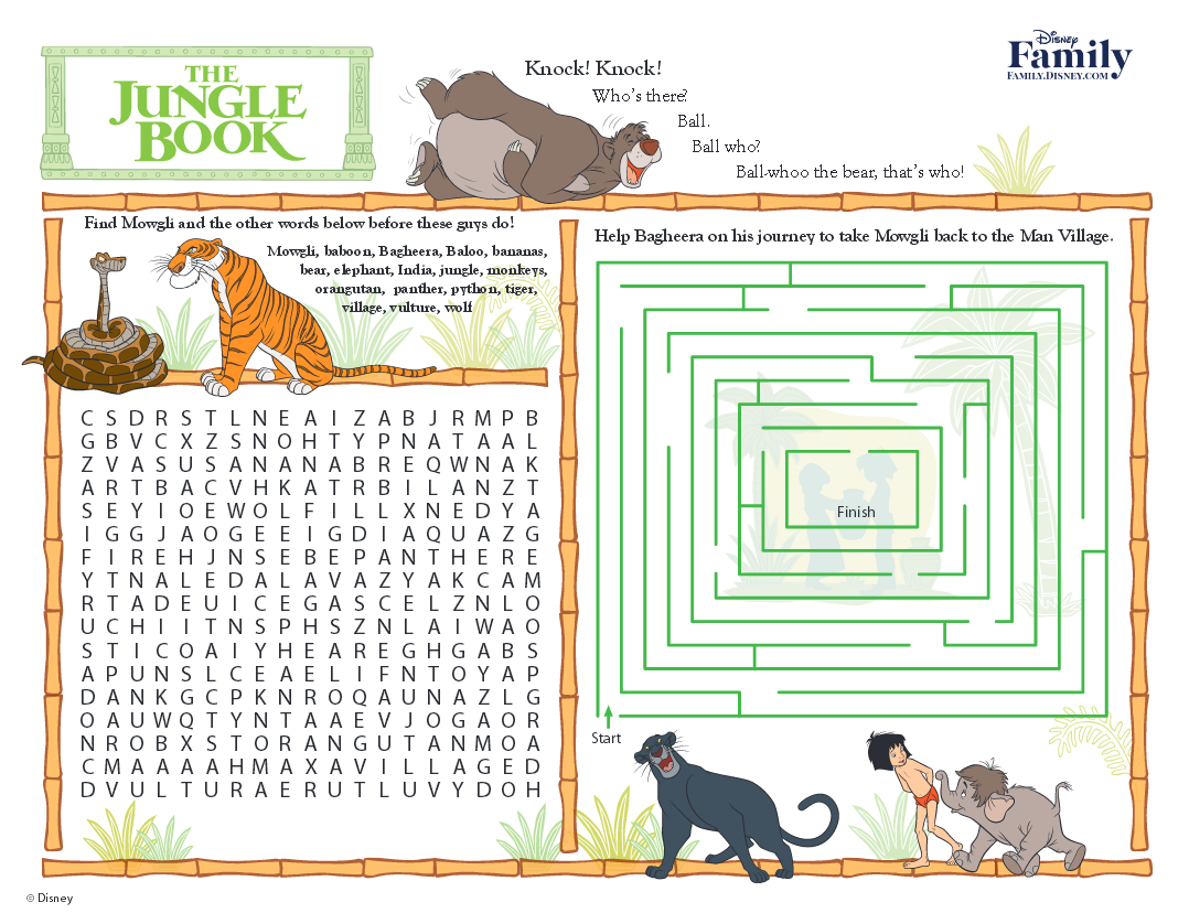 Family Disney Activities Jungle Book Activity