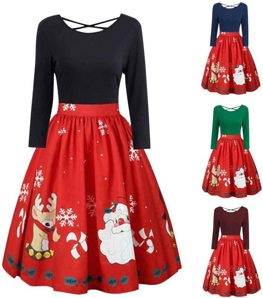 Amazon Com Storto Damen Weihnachtskleid Langarmelig Weihnachtsmann Rentier Print Ub Women Long Sleeve Dress Plus Size Christmas Dresses Xmas Party Outfits [ 1000 x 884 Pixel ]