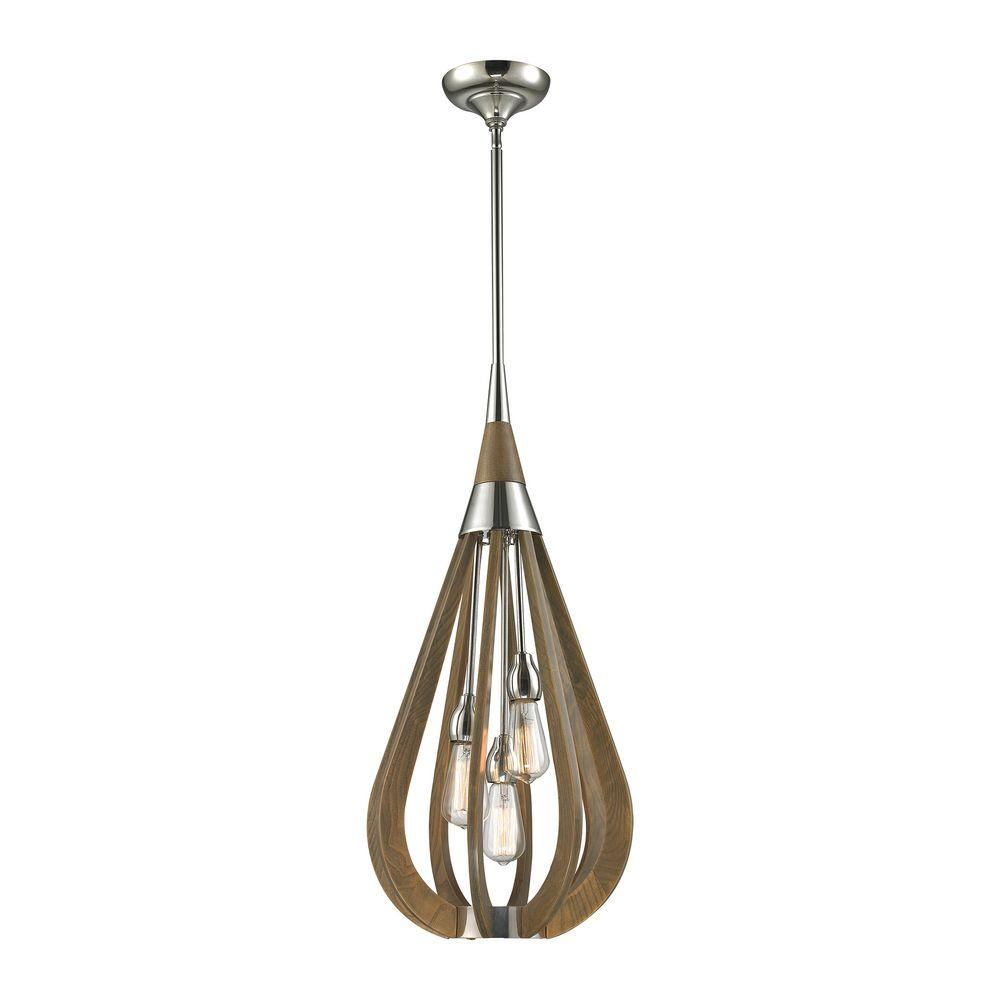 Photo of Titan Lighting Janette 3-Light Polished Nickel Pendant-TN-11…