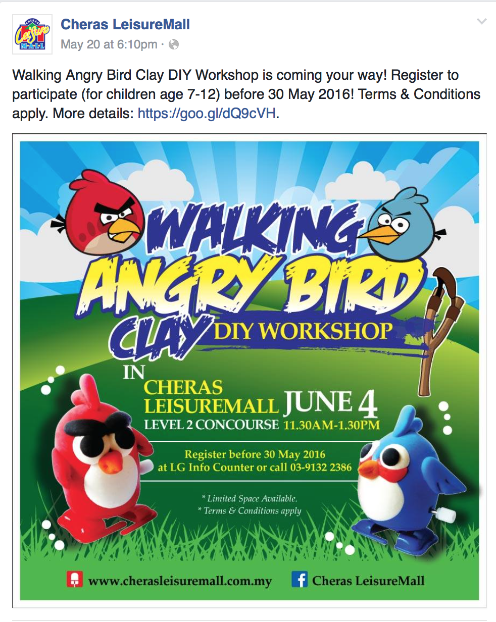 Thank you for Cheras Leisure Mall appointed us again to conduct a craft workshop on 4 June 2016. The Walking Angry Bird Clay DIY Workshop is fun and exciting. Have u ever saw a clay angry bird can walking? Kids, mark down the date, ask papa or mummy to help you register today!